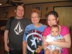 My son Eric, Me my daughter Marcia and little Nathaniel at the Albright family reunion June 2013.
